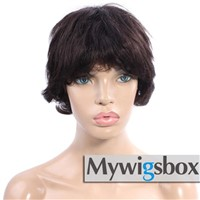 Short Wigs Brazilian Human Hair Color #2 Glueless Cap Wigs