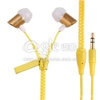 Stylish quality zipper earphones 3.5mm jack