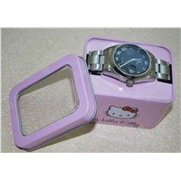 Tin box with PVC window for watch,Rectangular watch tin can,tin watch box