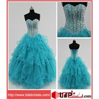 Turquoise Beaded Sweetheart Ball Gown Organza Party Dress/Evening Dress/Prom Dress (1810)