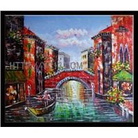 Venice Port Sailing Scenery Handmade Wall Art Oil Painting on Canvas