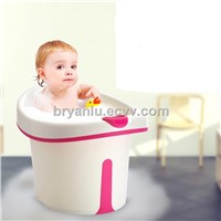 baby bath barrel with soft seat and drain plug