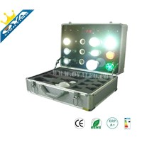 led lighting democase for test lamps with storge multi function protable for travel