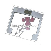 electric glass square Bathroom Scale with flower
