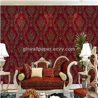 2014  damask flower design wallpaper for home decoration wallpaper