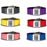 Adjustable Strap Unique QR Code Silicone Bracelet with Stainless Steel Metal