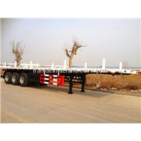 Green 3 Axles Semi Trailer Trucks / Skeleton Container  Transport Trailer Uganda/Ethiopia/Djibouti
