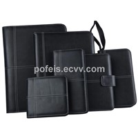 Leather suit A4 folder with calcular & card bag & note pad