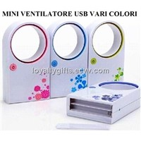Purple Mini Portable Cooling ABS Bladeless Fan Refrigeration No Leaf Air