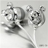 Swarovski Crystal(Clear)Mickey Mouse Earphones-Earbuds