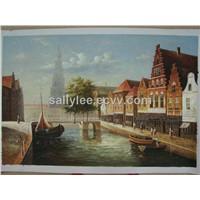 Venice Italian Couple Canal Boat Gondola  Oil On Canvas Painting