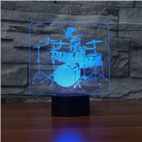 Drum Set 3D LED Lamp Rock and roll 3D Night Light 7 Color Changing Touch Table  Lamps Acrylic Musical Instruments Desk Lamp