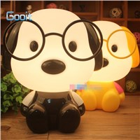 Cute Glasses Dog Cartoon Night Light Baby Room Kids Bed Lamp Sleeping Night Lamp Decoration Eyeshield Table Lamp