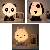 Hot!EU Plug Baby Bedroom Lamps Night Light Cartoon Pets Rabbit Panda PVC Plastic Sleep Led Kid Lamp Bulb Nightlight for Children