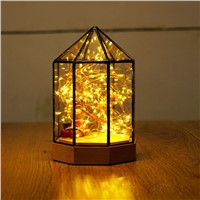Scandinavian Creative DIY Glass House Chalet Day Birthday Gift Eternal Lights Glass Geometric Lamp Ambient Light For Christmas