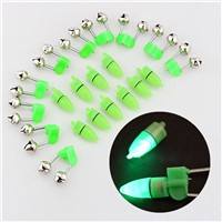 10pcs LED Flash Light Night Electronic Fishing Bite Alarm Finder Lamp Double Twin Bells Tip Clip On Fishing Rod Tackle C