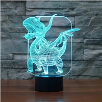 Pterosaurs Dragon 3D LED Lamp Magical Illusion LED Table Lamp with Image Night Lights for Boys Kids Gifts 7 Colors Touch Control
