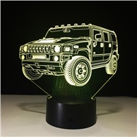 Cool LH Car 3D Night Light 7 Color LED Table lamp Touch Switch USB Strange New Lamp Baby sleeping Light for Christmas gift
