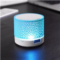 Mini Wireless Portable Speakers LED Music Bluetooth Crack Speaker Subwoofer HandsFree MIC Support TF Night Light Luminaria