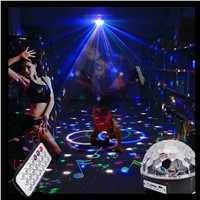 Aimbinet 6 LED with MP3 player Disco Dj Stage Lighting 18W LED RGB Crystal Magic Ball Effect Light  KTV Xmas Party Wedding Show