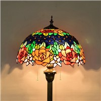 Euramerican style Retro creative stained glass Art living room, dining room, bedroom Floor lamp Hotel rose decorative lighting