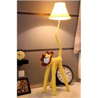 New Modern Cartoon Lion Design Cloth Floor Lamp For Kid's Room/Study Room 125x31cm Kid's Cute Floor Reading Lamp Yellow Color