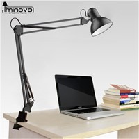 IMINOVO Desk Lamps E27 With Clip Table Lamp For Children Kids Bedroom Turn ON/OFF Switch Fashion Baking Varnish Lampshade Style
