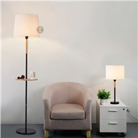 Nordic modern floor lamp living Wooden room lamp bedroom desktop bedside decorative cloth hotel light MZ10