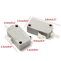 2Pcs Microwave Oven KW3A Door Micro Switch Normally Open for Microwave Door Switches Tool 125V / 250V