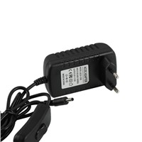 24W Black LED Driver 12v With Rocker Switch For LED Strips  Power Supply European Plug 3.5DC plug output