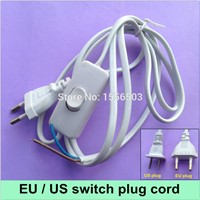 1X Switch on line Cable 1.8m On Off Power Cord For LED Lamp with Switch US EU Plug Light Switching White Black Wire Extension