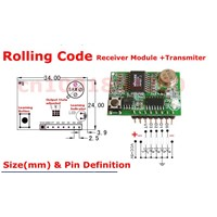 DC3-5V Rolling code RF Wireless Remote Control Receiver Module+Transmitter super-heterodyne Learning code 4Channel Output  TTL