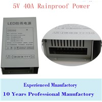 5V 40A 200W Rainproof outdoor Single Output Switching power supply smps AC TO DC for LED strip lamp