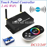 Freeshipping Dual antenna 2.4G WiFi LED Controller RGB controlled by Remote/Mobile/Ipad with Android/IOS system 12V/24V Control