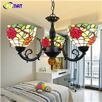 FUMAT European Vintage Chandelier Tiffany Pastoral Rose Lampshade Light For Living Room Dinning Room LEDStained Glass Lightings