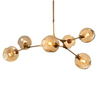Toolery Post modern Chandelier Light 6 head Nordic Art Decoration DNA edison 6W led lamp clear amber Glass lampshade gold body