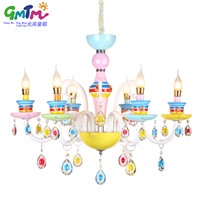 Beautiful colorful lighting rainbow glass chandelier modern crystal pendant chandelier for house living room bedroom dining room