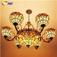 FUMAT Tiffany Pastroal Baroque Chandeliers Artistic Lights For Living Room Dining Room Vintage Stained Glass Chandelier Lighting