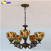 FUMAT Tiffany Chandeliers Poastoral Vintage Creative Light Stained GlassArtistic Lights For Living Room Bed Room LED Chandelier