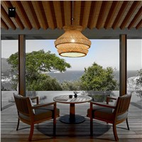 Bamboo Wicker Rattan Shade Chandelier Light Fixture Japanese Vintage Asian Creative Hanging Ceiling Lamp Dining Table Study Room