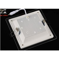 Dimmable glass led panel downlight,6w 12w 18w led ceiling recessed panel lights,square led panel lights