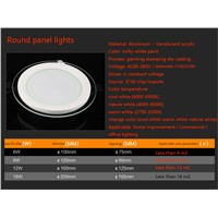 Dimmable glass led panel downlight,6w 12w 18w led ceiling recessed panel lights,round led panel lights