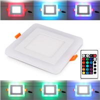 100-265V White + RGB LED Panel Light and Remote Control 6w/9w/18w 24w LED Ceiling downlight Acrylic Panel Lamp