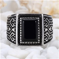 Eulonvan black ring men magnificent 925 sterling Silver Jewelry rings Black Cubic Zirconia S--3808 sz# 7 8 9 10 Explosion models