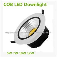 20pcs 5W7W10W12W Recessed COB LED Downlights 85~265V Ceiling Spot Light White baking varnish aluminum shell Down light