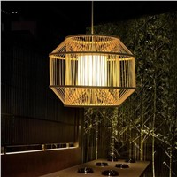 Bamboo Wicker Rattan Cage Shade Pendant Light Fixture Rustic Country Asian Hanging Lamp Plafon Avize Luminaria Dining Table Room