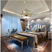 Restaurant vintage ceiling chandelier fan lights LED American living room home remote control fan lamp ceiling chandelier fan