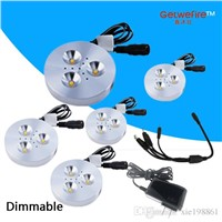 HOT 5 pcs DC 12v 3W LED Puck/Cabinet Light,LED spotlight+1PCS Power connect wire+1pcs 12v 1a POWER SUPPLY