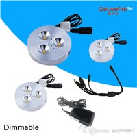 Free shipping 3pcs 12 DC 3W LED Puck/Cabinet Light,LED spotlight+35cm connect wire +12v 1a power
