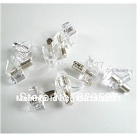500PCS/LOT Clear Crystal Plastic Shelf Supports With 5mm Nickel Plated Pin Adustable Cabinet Shelf Support